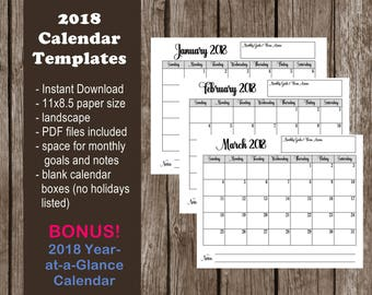 month at a glance blank calendar template