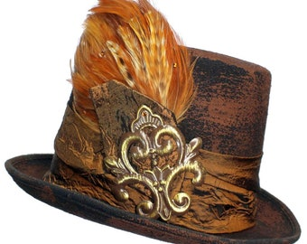Brown Wool Top Hat Beer Garden Steampunk Topper Womens Mens Cosplay Gold