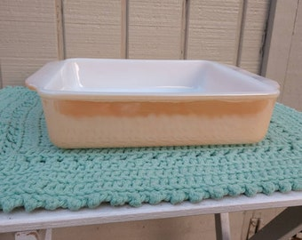 Fire King Peach Luster Square Baking Dish