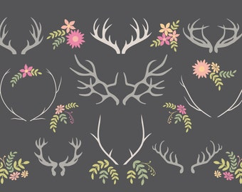 Vector clipart - Antlers Vector pack - Wedding Stationery elements - blog design elements - baby shower invitation elements