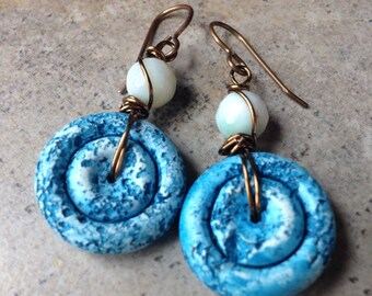 SALE!! Originally 24, now 20!Blue Sky Day Dreams Polymer Clay Earrings, artisan, wire wrapped, brass, agate