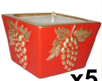 5 fancy gold and Red Holly Christmas candles