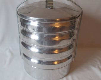 Vintage Regal Ware 5 Tier Aluminum Miners Lunch Pail ~ Picnic Camping BBQ Bucket