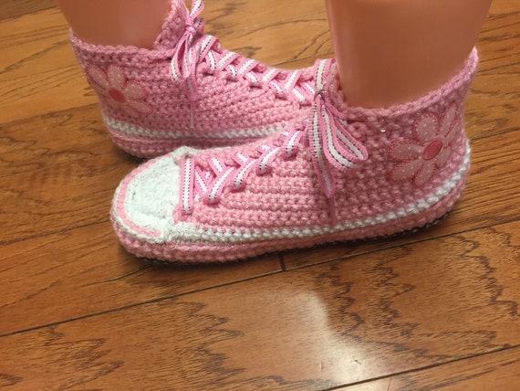 shoes pink sneaker sneakers flowerr Womens 7 slippers shoes sneakers Crocheted crochet slippers slippers flower tennis 9 crocheted tennis wIE1W6q5