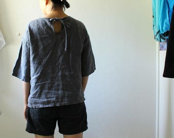 LINEN BLOUSE / BILLIE / grey linen shirt / womens linen clothing / organic / linen / summer / made in australia / pamelatang