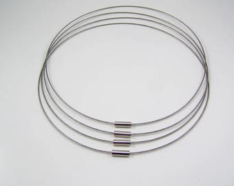 Neck cable stiff 46cm gunmetal colored smooth Platinum clasp set of 4
