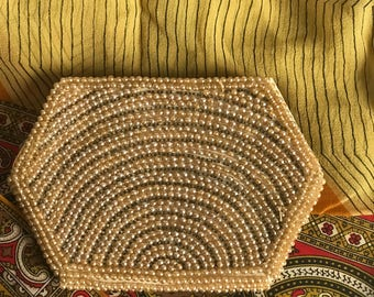Vintage 1960s Japanese Beaded Clutch/ Pearl Beading/ Hexagon Shaped/ Zip Top/ Neutral Satin Lining