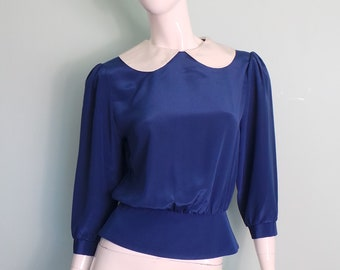 80s Cobalt Blue Peter Pan Collar Button Back Blouse, Blue and White Berkertex Top, Blue Peplum White Round Collar Prim Top, 39in Bust,Medium