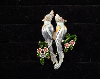 Two Birds on a Branch Brooch, Colorful with Rhinestones, Gold Tone Metal, Unsigned