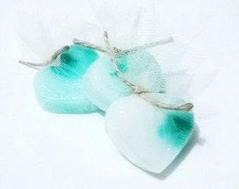 3 Vanilla Peppermint Shea Butter Blend Heart Shaped Decorative Mini Soaps / Guest Soaps / Travel Soap / Decorative Hand Soaps / Soap gift