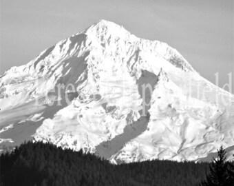 Black and White Photography, Mountain Home Decor, Mount Hood Photography, Fine Art Photo Print, Northwest Wall Art, Majestic,Snow, Ice Print