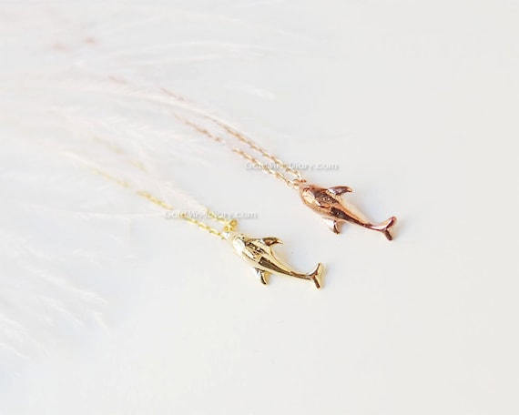 Rose gold dolphin necklace dainty dolphin pendant birthday like this item aloadofball Gallery