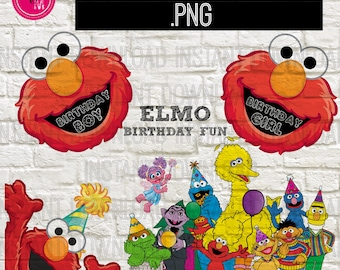 Instant Download Sesame Street Elmo Birthday Clipart, Elmo Birthday Clipart, Sesame Street Png File