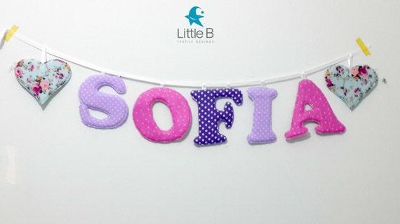 Bandera de nombre Sofía Letras de pared del cuarto de niños