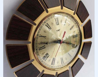 Vintage 70's Smiths Astral Brass / Teak Wood Starburst Sunburst Wall Clock