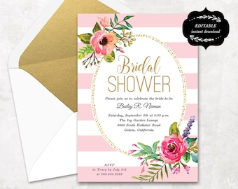 Cream and Blue Floral Bridal Shower Invitation Template