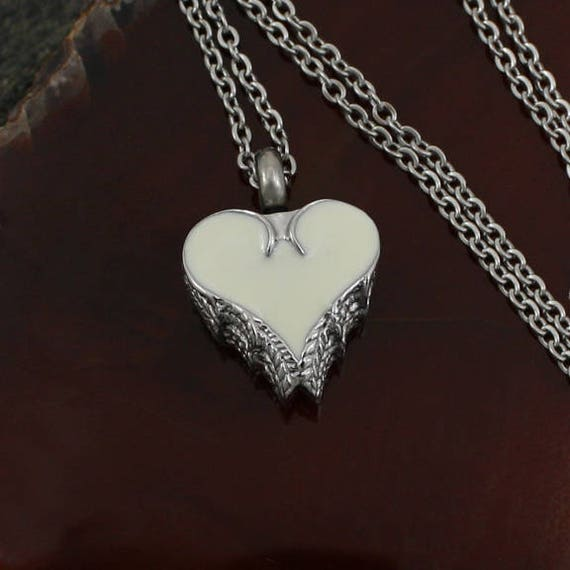 Angel Wing Urn Necklace: Angel Wing Heart Urn Charm Necklace Cremation Jewelry