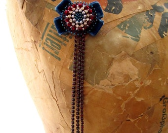 Velvet Bow Brooch Beaded Bow Brooch Tassel Brooch Blue Red Brooch Needlework Brooch Garnet Brooch