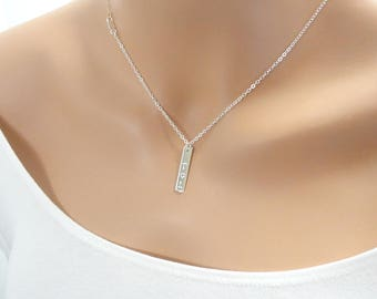 Vertical Bar Necklace with Initials - Personalized Jewelry - Personalized Necklace