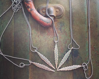 """weed leAF necklace 20"""" oxidized sterling silver casting"""