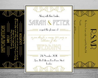 Printable 1920s Great Gatsby Wedding Invitation Set with RSVP and Information Cards