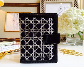 Black Leather Planner// Daily Planner// Leather Planner Cover// Leather Journal // Fabric Planner // Gift for Mom