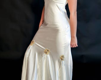 Satin Off White Evening Gown