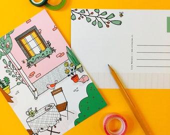 Postcard Garden - greeting card A5 | garden card,  postcard, cute postcard, illustration, cute stationery, pink house, bird card, flowers