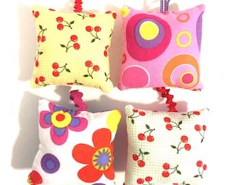 pincushion set, pillow pincushions, pincushion with loop, hanging pincushion, modern pincushion , cherry pincushions, fabric pincushion,