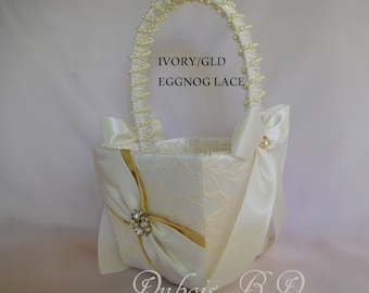 Flower girl basket, Ivory and gold flower girl basket, Wedding basket, Lace flower girl basket, Wedding decorations, Gold basket