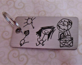 Child's Artwork Drawing on Key chain,Or Handwriting - Brushed Stainless Steel Gift-
