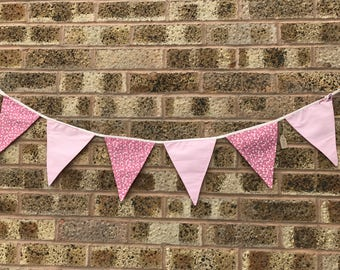 Handmade Bunting Pink Stripes and Floral