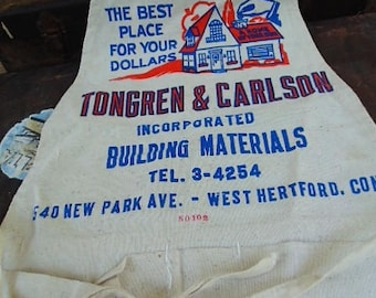 vintage nail apron TONGREN CARLSON building materials NOS unused Hartford Connecticut