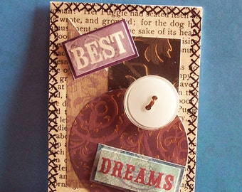 """Original ACEO Collage - """"Best Dreams"""" - Art Trading Card, 2.5 x 3.5"""", Bitcoin Accepted"""
