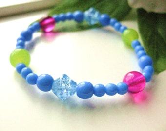 Girls Bracelet, Blue, Pink and Green, Stretch Bracelet, Large Bracelet, GBL 176