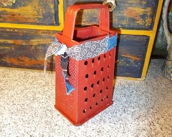 Metal cheese grater, box grater, rusty red, primitive kitchen, cupboard tuck, farmhouse kitchen, metal slicer, vintage tins, shelf display