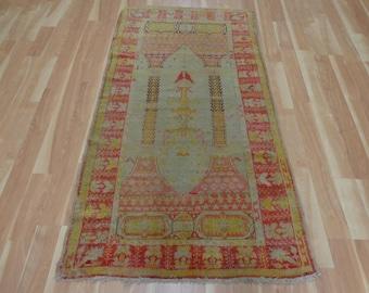 Turkish Prayer Rug 3' 4 x 6' 1 Cream Oriental Rug