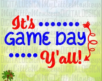 It's Game Day Y'all Design Digital Clip Art and  Cut File Instant Download 300 dpi Jpeg Png SVG EPS DXF