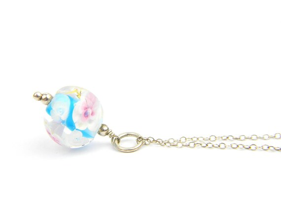 Art Glass Pendant - Medium Aqua, Pink and Gold Art Glass Bead Sterling Silver Pendant - Classic Collection