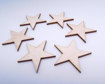 Wooden Stars for Crafts - Laser Cut