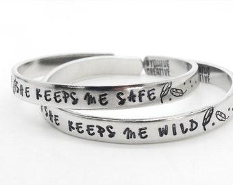 mom gift, best friend bracelets, she keeps me wild she keeps me safe, jewelry set, bff gift, feather bracelet, handmade jewelry