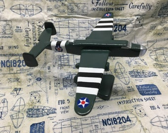 Handcrafted B-25 Mitchell Bomber toy plane.