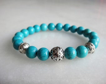 Genuine turquoise bracelet with 925 sterling silver Bali beads / Beaded turquoise silver bracelet turquoise jewelry