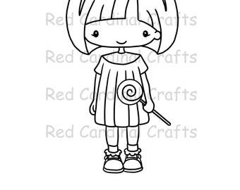 Digital Stamp - Lollipop girl