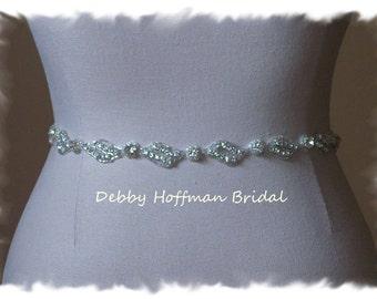 Bridal Sash, Rhinestone Crystal Bridal Belt, Crystal Wedding Dress Sash, Jeweled Wedding Belt, Thin Belt, Bridesmaid Belt Sash, No. 1151S