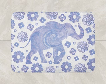 Bohemian Bathroom Decor, Elephant Bath Mat, Boho Bath Mat, Foam Bath Rug,  Purple Bath Mat, Purple White Mat, Modern Bath Mat