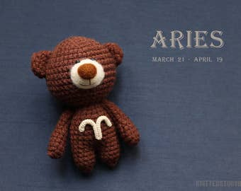 Aries miniature teddy bear with zodiac - aries gifts, aries star sign, zodiac teddy bear, crochet zodiac horoscope - MADE TO ORDER