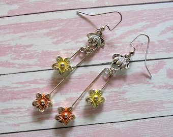 Orange and Yellow Flower Earrings (4434)