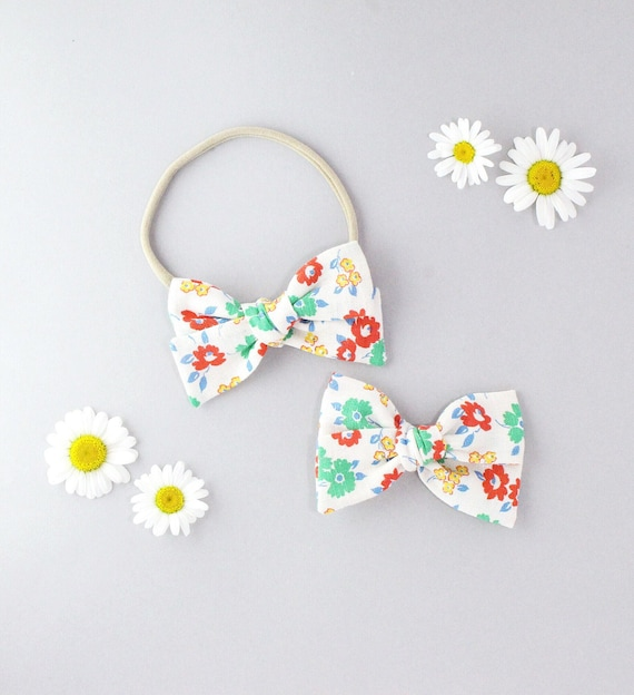 Linen floral // Sailor bow