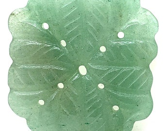 Natural Green Aventurine Focal Pendant with a Carved Leafy Design and Scalloped Edges, 40mm Aventurine Bead